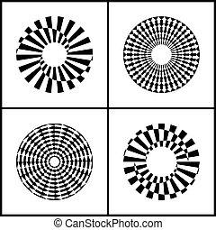 Rotation design elements. Abstract circle icons set.