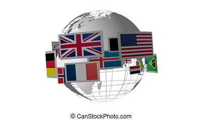 rotation, drapeaux, globe