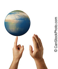 rotation earth - Planet the earth in human hands. Concept ...