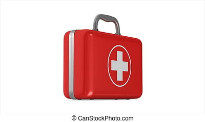 rotation first aid kit on white background. Isolated 3D...