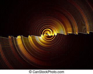 rotation - Golden gear rotating, circular abstract motion on...