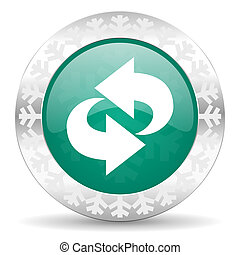rotation green icon, christmas button, refresh sign