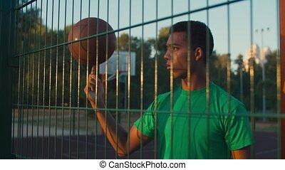 rotation, habile, doigt, basket-ball, athlète