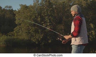 rotation, homme, concept., loisir, fish, pêcheur, actif,...