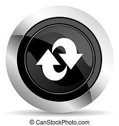 rotation icon, black chrome button, refresh sign