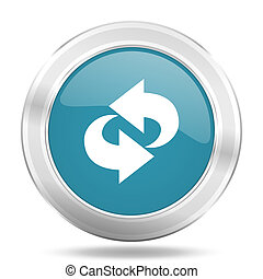 rotation icon, blue round glossy metallic button, web and mobile app design illustration