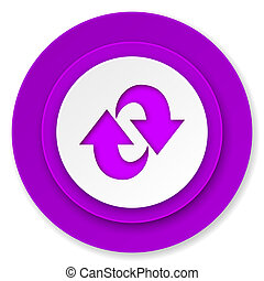 rotation icon, violet button, refresh sign