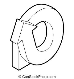 Rotation loop icon, outline style