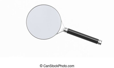 Rotation magnifier on white background. Isolated 3D render