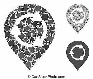 Rotation map marker Mosaic Icon of Irregular Parts