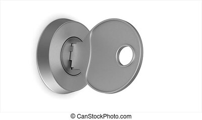 rotation metallic key on white background. isolated 3d...