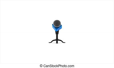 rotation microphone on white background. Isolated 3D render