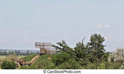 Rotation military radar - Military mobile radar standing on...