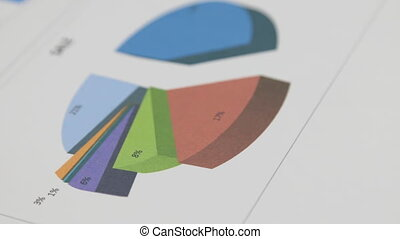 Rotation of a multi-colored diagram. Close-up. Concept image of data gathering