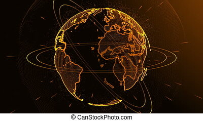 Rotation of a shining Planet Earth with particles. Abstract background with a gold planet