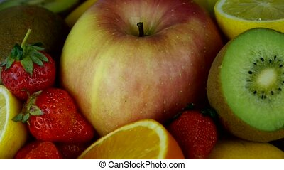 Rotation of delicious fruit plate.