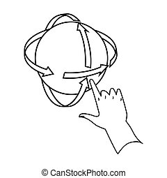Rotation of globe in virtual reality icon in outline style isolated on white background. Virtual reality symbol stock bitmap, rastr illustration.