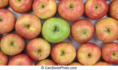 Rotation of the background made from whole apples. View from...