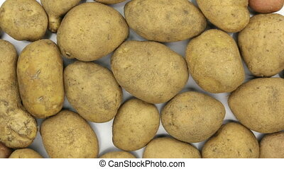Rotation of the background made from whole potatoes. View...