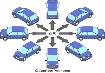 Rotation of the hatchback by 45 degrees.