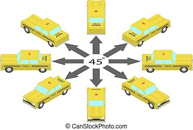Rotation of the taxi car by 45 degrees.