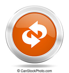 rotation orange icon, metallic design internet button, web and mobile app illustration