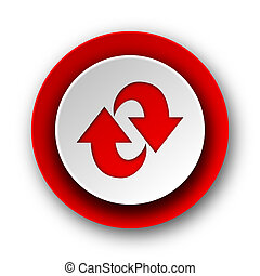 rotation red modern web icon on white background