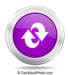 rotation round glossy pink silver metallic icon, modern design web element