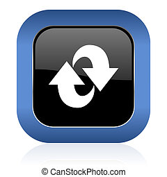 rotation square glossy icon refresh sign