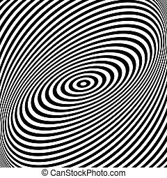 Rotation torsion movement illusion. Lines texture. Vector...