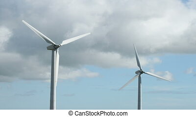 rotation, turbines, deux, vent, fast.