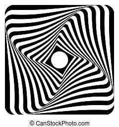 Rotation, twisting and torsion illusion. Op art design. -...