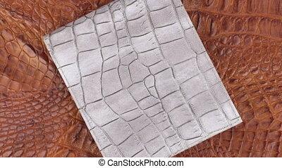 Rotation, two texture crocodile skin, gray leather purse...