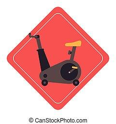 rotation, vélo, gymnase, icône