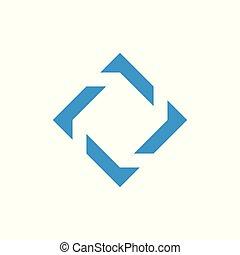 rotation, vecteur, logo, géométrique, carrée