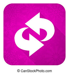rotation violet flat icon, christmas button, refresh sign
