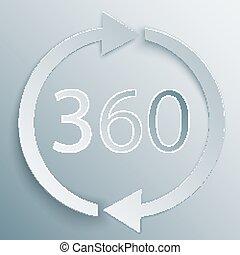 rotazione, vettore, gradi, 360