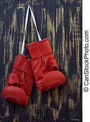 rote boxhandschuhe, hängen, a, nagel