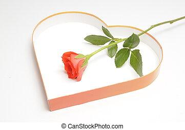 Rote Rose und Herz - rose, herz, rosen, rot, liebe,...