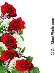 rote rosen, hortensie, und, lila, blumen