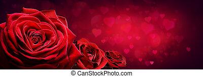 rote rosen, in, herz- form, mit, rotes , leidenschaft, hintergrund