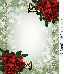 rote rosen, vlinders, umrandungen, hochzeitskarten