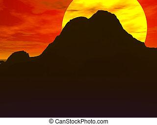 rote wüste, sonnenaufgang