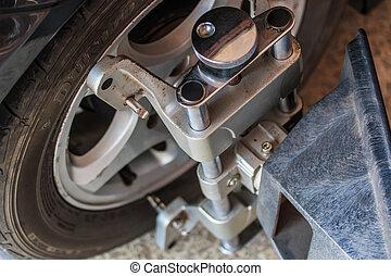 rotella automobile, fisso, con, computerizzato, ruota, allineamento, macchina, morsetto