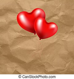 roter ballon, herz, in, durchsichtig, hintergrund