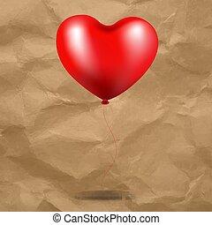 roter ballon, herz, in, pappe, hintergrund