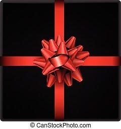 roter bogen, mit, geschenkband, freigestellt, auf, black.