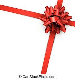 roter bogen, mit, geschenkband, freigestellt, auf, white.