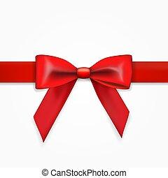 roter bogen, mit, ribbon., feiertag, party, template., vorderansicht