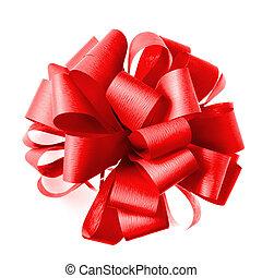 roter bogen, von, geschenkband, freigestellt, weiß